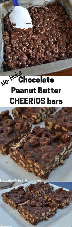 No-bake Chocolate Peanut Butter Cheerio Bars