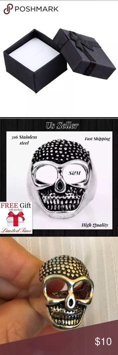 Men's Stainless Steel Gothic Skull Biker Ring 11 Brand New HOt Fashion And High Quality Quarantee!  Buy With Confidence. Package List: Pakcage:1 PCS Material: 316L Stainless Steel, Water/Oil Proof Width: 8mm Colour: Black/Silver Size: 11 No Tarnish Or Polishing Hypoallergenic Package Include: 1pc Ring + Limited time free nano microfiber cleaning cloth $19.99 value! When you buy this item Nano technolog Microfiber claening Cloth $19.99 value is free for you! Accessories Jewelry