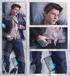 Detroit:Become Human ·Hannor· (Connor x Hank) Luther, Dechart Bryan, Boys Lindos, Fanfiction, Detroit Art, Detroit Become Human Connor, Becoming Human, Human Art, Best Games