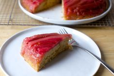 Looks so weird with green rhubarb! Also might try roasting rhubarb instead of poaching, it was very wet. https://smittenkitchen.com/2017/05/rhubarb-upside-down-spice-cake/?utm_source=bloglovin.com