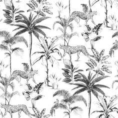 Rasch Savanna White and Black Wallpaper 409017 Palm Tree Wallpaper Black And White, Walpaper Black, Leopard Print Wallpaper, Gold Wallpaper, Tropical Wallpaper, Animal Wallpaper, Feature Wallpaper, Perfect Wallpaper, Tapete Gold