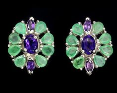 Emeralds & Amethysts in White Gold Vermeil Suffragette Cluster Earrings.  Edwardian Art Deco style.