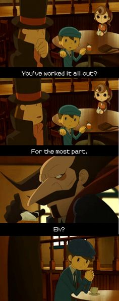 Can we all just take a moment to appreciate Don Paolo's existence, the series just wouldn't be the same without him //Professor Layton, Lost Future, Unwound Future, Luke, Flora, Don Paolo, Clive Dove, Screenshot, Puzzle, VanillaFolsense