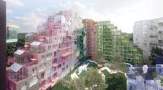 Manuelle Gautrand Designs Futuristic Housing Block for Amsterdam,Hyde Park Residence. Image Courtesy of Romain Ghomari Hyde Park, Architecture Awards, Futuristic Architecture, Amsterdam Images, Green Terrace, Glazed Brick, Black Brick, Small Greenhouse, Urban Life