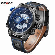 Top Luxury Brand WEIDE Men Fashion Casual Quartz Analog Digital LED Watch Stainless Steel Watches Men Leather Strap Wrist Watch