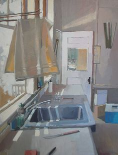 """ARTIST CAROLE RABE AT THE ROWLEY GALLERY """"YELLOW DISH CLOTH"""" 24"""" x 30"""", oil"""