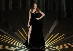 Presenter Angelina Jolie speaks onstage during the 84th Annual Academy Awards held at the Hollywood & Highland Center on February 26, 2012 in Hollywood, California.