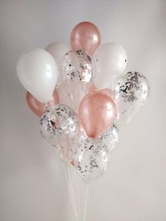 Rose Gold White Silver Confetti Rose Gold Balloons/ Confetti Balloons/ Hen doBalloon Bouquet set Balloon Garland 21st Birthday 30th