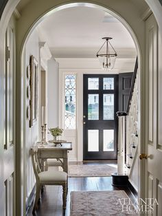 Home Tour: Traditional Cottage Charm In Buckhead foyer with curved architectural details Entry Way Design, Foyer Design, House Design, Farmhouse Living Room Furniture, Farmhouse Decor, Cottage Renovation, Cottage Style Homes, Atlanta Homes, Home Trends