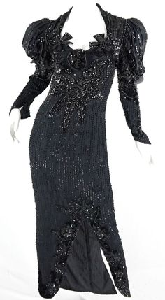 Vintage 80s Black Silk Sequin Maxi Dress Formal Evening Long Sleeve Beaded Gown #athday