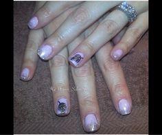 Glitter feather nails created using CND shellac Vineland nj