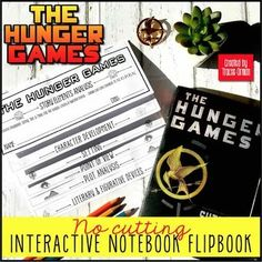 My literary analysis interactive notebook flipbook for The Hunger Games (by Suzanne Collins) practices so many essential skills in an easy-to-assemble handy flipbook. I also included traditional handouts for teachers who do not use interactive notebooks. This story elements literary analysis flipbook includes six sections to use with The Hunger Independent Reading, Suzanne Collins, Hunger Games Catching Fire, Story Elements, Critical Thinking Skills, Hunger Games Trilogy, Figurative Language, Mockingjay, Interactive Notebooks