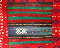 Vintage Turkish Handwoven Kilim Pillow Cover 16x16free by Cultere, $39.00