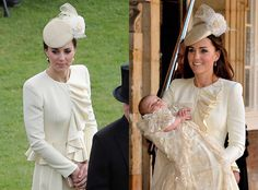 <p>Kate Middleton wore the coat-dress to Princess Charlotte's christening on July 15, 2015 (left), and then again to the 100th anniversary of the Battle of Passchendaele on July 30, 2017 in Belgium.</p>