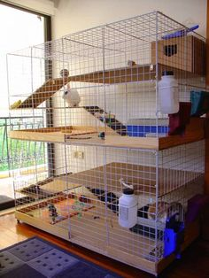 I like this one so much! built for two bunnies... but with another ramp between them, it could be one huge cage!