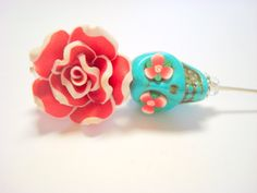 Turquoise Red and White Day of the Dead Hat Pin by PennysLane, $8.50