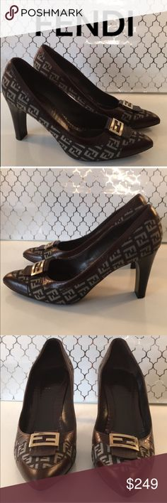 ⭐️FENDI HEELS 💯AUTHENTIC FENDI MONOGRAM BEAUTIFUL HEELS 100% AUTHENTIC. THESE ARE SO BEAUTIFUL! TRUE SUPER HIGH END LUXURY AND STYLE! ONLY WORN THREE TIMES! JUST LOVELY. THEY ARE BROWN AND TAN WITH A LOVLEY GOLD FENDI LOGO BUCKLE.THE HEEL HEIGHT IS 3.5 INCHES. THE SIZE IS 40 WHICH CONVERTS TO AN AMERICAN 10 Fendi Shoes Heels