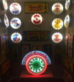 Original Advertising Neon Clocks Collection Neon Clock, Antique Clocks, Ale, Advertising, Neon Signs, Posters, Colours, Rock, Retro