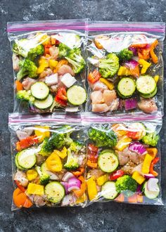 Chicken and veggies marinated with olive oil, herbs, and spices and packed in zipper bags. These easy to pack bags make it super easy to cook lunch or dinner in minutes and last up to 6 months in t… meals healthy Chicken and Veggie Freezer Packs Chicken Freezer Meals, Freezer Friendly Meals, Make Ahead Freezer Meals, Dump Meals, Freezer Cooking, Meal Prep Freezer, Camping Meals, Easy Meals To Cook, Healthy Meals To Freeze