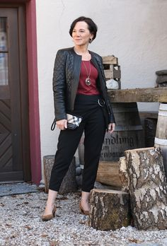 Favourite black leather jacket and Zara trousers with eye-catching details #matureblogger #50plusblogger
