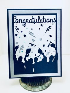 Card made with Taylored Expressions Celebration Confetti dies, and Impression Obsession graduation silhouette and congratulations Card by Christine Yoerger. Graduation Theme, Graduation Cards, Graduation Announcements, Graduation Ideas, Graduation Silhouette, Congratulations Graduate, Spellbinders Cards, Impression Obsession, Cards Diy