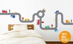 Fire Trucks Car Track Wall Decal for your Baby by TikitiWallDecals, $79.00