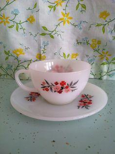 FIre King Primrose Tea Cup and Saucer