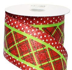 Red Satin Ribbon w/ Lime Criss cross Pattern - 2.5