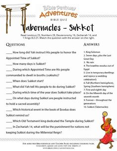 Bible Study For Kids, Bible Lessons For Kids, Bible Quiz, Bible Trivia, Adventure Bible, Feasts Of The Lord, Feast Of Tabernacles, Bible School Crafts, Learn Hebrew