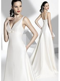A-line Simple V Neckline White Satin Gorgeous Wedding Gown