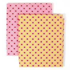 Holly Holderman Yellow & Pink Bundle  Ring Tone  by 3BagsFulled (Craft Supplies & Tools, Fabric, cotton fabric, quilting cotton, half yards, holly holderman, lakehouse fabrics, lakehouse drygoods, annies farmstand, annies farm stand, ring tone yellow, ring tone pink, red dots on yellow, red dots on pink, polka dots)