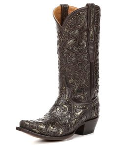 "<p class=""MsoNormal"">Inspired by Old Western glamour, this boot's elaborate spirals are lasercut onto its calf leather quarter and vamp. The delicate studding along the vamp and collar reflects the metallic underlay. Lucchese's classic ""L"" is  woven into the overlay of the front quarter. Handmade since 1883.<o:p></o:p></p>"
