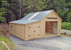 14x20 One Bay Garage. Example shows optional enclosed 8x20 overhang + Ash Gray metal roofing w/translucent roofing. Standard available as a Kit - 2 people 30 hours + Plans $39.95. Kits ship *Free in the continental US + eastern Canada. http://jamaicacottageshop.com/shop/one-bay-garage/ http://cdn.jamaicacottageshop.com/wp-content/uploads/pdfs/pdf14x20onebaygarage.pdf http://jamaicacottageshop.com/free-shipping/ #garages #postandbeam #shed #sheds #barn #barns #jamaicacottageshop