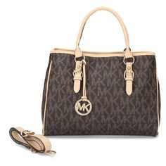 $65.99 Michael Kors Outlet Jet Set Logo Work Medium Brown Totes I love it so much! Ready for the matching wallet hunn!
