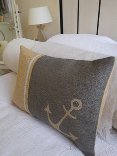 a0bc4c1fe601 Hand printed rustic corinthian anchor cushion cover