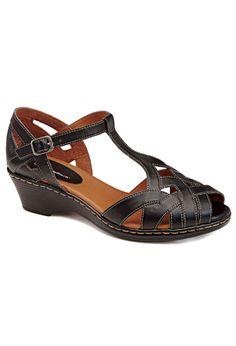 Hilda T-Strap Comfort Wedge Sandal   Plus Size Sandals   Avenue