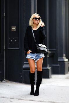 short jeans e bota over the knee