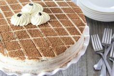 Tiramisu is probably one of the most well known Italian cakes. It is typically made withlady fingers soaked in coffee and rum, then layered with cream. I personally don't like the taste or texture of lady fingers so I bake the cake myself. Tiramisu cake may sound like an intimidating cake to make, but this