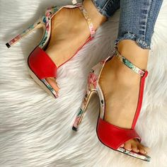 Buy Summer Women Party High Heels Women Sandals Open Toe Sandals at Wish - Shopping Made Fun High Heel Pumps, Stilettos, Pumps Heels, Stiletto Heels, Lace Up Heels, Ankle Strap Sandals, Floral Shoes, Super High Heels, Open Toe Sandals