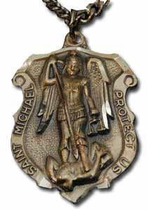 St michael law enforcement personalized pendant saint michael st michael badge medal necklace 24 chain christian jewelry patron saint medals mozeypictures Gallery