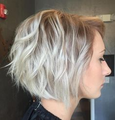Ash Blonde Wavy Layered Bob