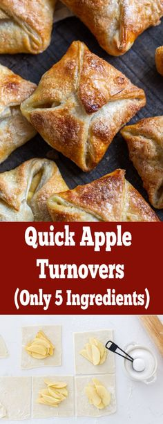 Seriously THE BEST- Quick Apple Turnovers (Only 5 Ingredients)You can find Apple recipes and m. Apple Dessert Recipes, Köstliche Desserts, Baking Recipes, Breakfast Recipes, Plated Desserts, Cooking Apple Recipes, Quick Apple Dessert, Dessert Simple, Quick Simple Desserts