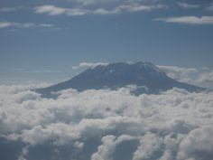 Mount Kilimanjaro towering above the clouds