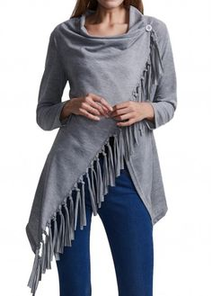 Grey Asymmetric Hem Tassel Decorated T Shirt | Rosewe.com - USD $23.22
