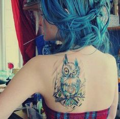 watercolor owl tattoo for girls                                                                                                                                                      More