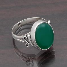 GREEN ONYX 925 SOLID STERLING SILVER EXCLUSIVE RING 4.67g DJR4675 #Handmade #Ring
