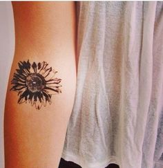 Black Small Sunflower Tattoo on Hand