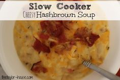 Slow Cooker or Stovetop Cheesy Hashbrown Soup with frozen Hashbrowns.