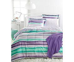 Twin XL Bedding Ensemble 6 Piece Set Sheets Comforter College Dorm Bed Girls New Purple Comforter, Aqua Bedding, Full Comforter Sets, Girls Bedding Sets, Twin Xl Bedding, Teen Bedding, Striped Bedding, Bed Ensemble, Chloe