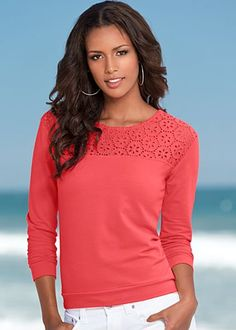 Coral (CO) Eyelet Detail Sweatshirt $32 These pretty eyelets prove that your sweatshirt look is not just for the gym anymore. ·  	Long sleeves   ·  	Cotton/spandex   ·  	Imported  ·  	Style #Y40000 Imported in nylon/spandex